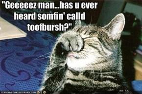 """Geeeeez man...has u ever heard somfin' calld toofbursh?"""