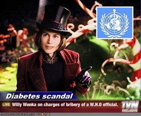 Diabetes scandal - Willy Wonka on charges of bribery of a W.H.O official.