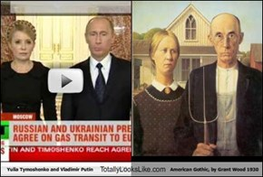 Yulia Tymoshenko and Vladimir Putin Totally Looks Like American Gothic, by Grant Wood 1930