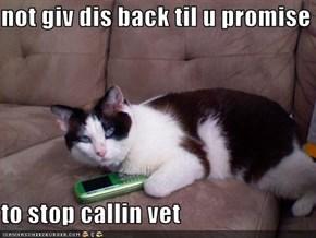 not giv dis back til u promise  to stop callin vet