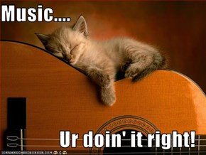 Music....  Ur doin' it right!