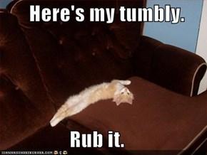 Here's my tumbly.                   Rub it.