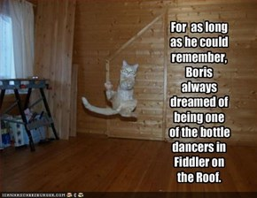 For  as long as he could remember, Boris always dreamed of being one of the bottle dancers in Fiddler on the Roof.