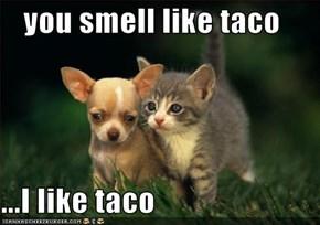you smell like taco  ...I like taco