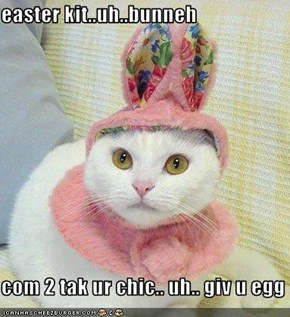 easter kit..uh..bunneh  com 2 tak ur chic.. uh.. giv u egg