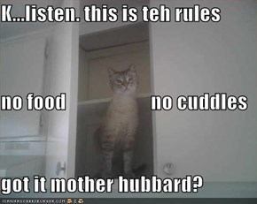 K...listen. this is teh rules no food                     no cuddles got it mother hubbard?