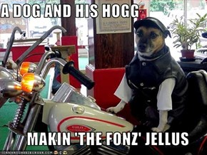 A DOG AND HIS HOGG          MAKIN 'THE FONZ' JELLUS