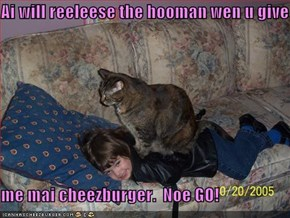 Ai will reeleese the hooman wen u give   me mai cheezburger.  Noe GO!