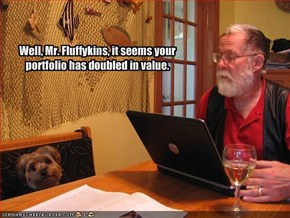 Well, Mr. Fluffykins, it seems your portfolio has doubled in value.