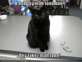 U not pay mah fone bill?  Dey takez mah fone!