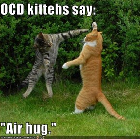 "OCD kittehs say:  ""Air hug."""