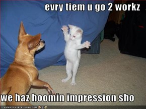 evry tiem u go 2 workz  we haz hoomin impression sho