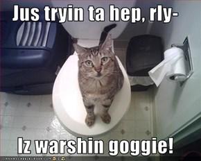 Jus tryin ta hep, rly-  Iz warshin goggie!