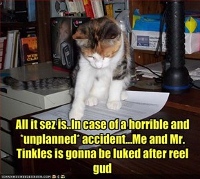 All it sez is..In case of a horrible and *unplanned* accident...Me and Mr. Tinkles is gonna be luked after reel gud