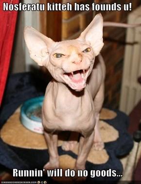 Nosferatu kitteh has founds u!  Runnin' will do no goods...