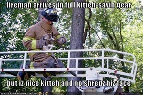 fireman arrives in full kitteh-savin gear  but iz nice kitteh and no shredz hiz face