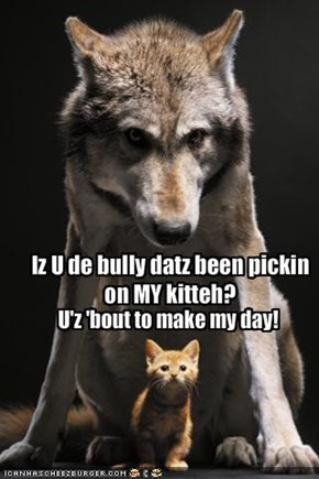 Iz U de bully datz been pickin on MY kitteh?