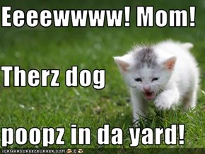 Eeeewwww! Mom! Therz dog poopz in da yard!