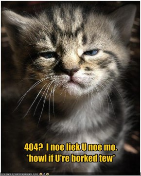 404?  I noe liek U noe mo.*howl if U're borked tew*