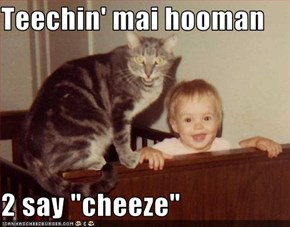 "Teechin' mai hooman  2 say ""cheeze"""