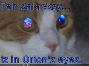 Teh galacksy...  iz in Orion'z eyez.