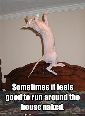 Sometimes it feels good to run around the house naked.