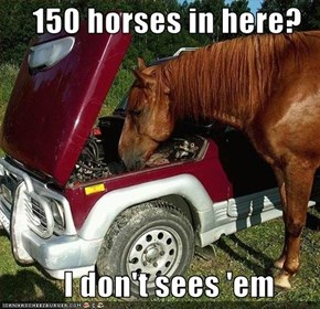 150 horses in here?            I don't sees 'em