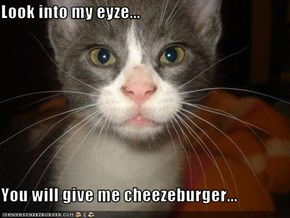 Look into my eyze...  You will give me cheezeburger...