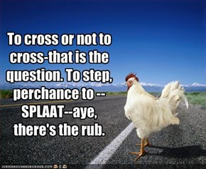 To cross or not to cross-that is the question. To step, perchance to --SPLAAT--aye, there's the rub.