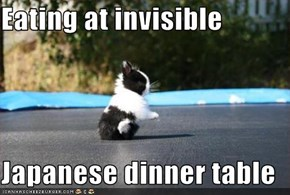 Eating at invisible  Japanese dinner table