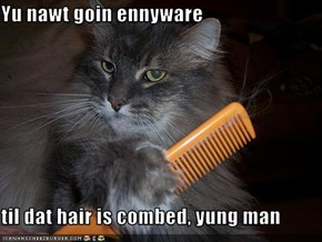 Yu nawt goin ennyware   til dat hair is combed, yung man