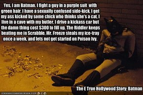 Yes, I am Batman. I fight a guy in a purple suit  with green hair, I have a sexually confused side-kick, I get my ass kicked by some chick who thinks she's a cat, I live in a cave with my butler, I drive a kickass car but the damn thing cost $300 to fill