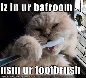 Iz in ur bafroom  usin ur toofbrush