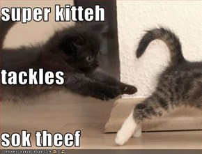 super kitteh tackles sok theef