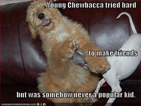 Young Chewbacca tried hard to make friends but was somehow never a popular kid.