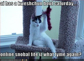 ai has a kweshchun bout caturday...  online snobal fite iz what tyme again?