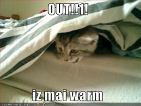 OUT!!1!  iz mai warm