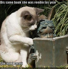 Dis same book she was reedin las year  She not 2 smart