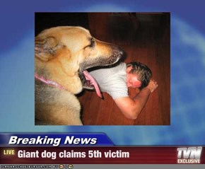 Breaking News - Giant dog claims 5th victim