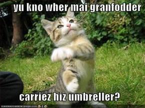 yu kno wher mai granfodder   carriez hiz umbreller?