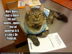 Nurz Nora sayz u must fill out quets....quist.....list of querrys b 4 u can c Dr. Tinycat.