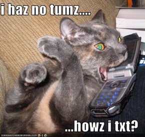 i haz no tumz....  ...howz i txt?