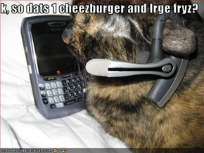 k, so dats 1 cheezburger and lrge fryz?