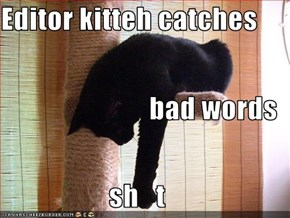 Editor kitteh catches bad words                    sh   t