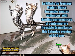 La Kittehs du Fromage Modern Dance Ensemble amazes audiences  with dazzling performances of contemporary freestyle DramaDance this Saturday evening at 6:30 p.m.