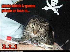 pirate kitteh iz gonna pilage ur face in...