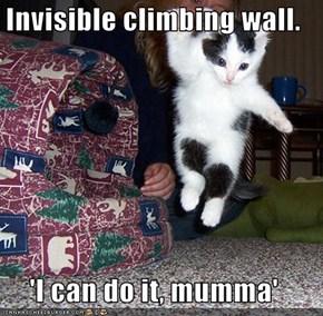 Invisible climbing wall.  'I can do it, mumma'
