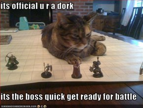 its official u r a dork  its the boss quick get ready for battle