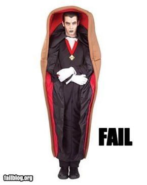 Dracula in a coffin fail