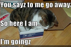 You sayz to me go awayz. So here I am.. I'm goingz